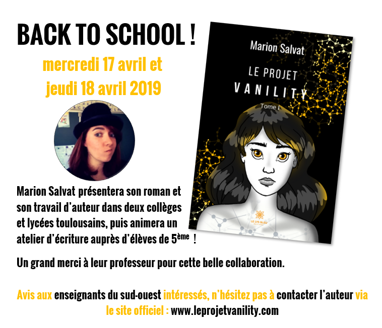 Le Projet Vanility Marion Salvat roman jeunesse science fiction young adult fantastique pouvoirs capacités maxine warnott lee prydington intervention en collège et lycée
